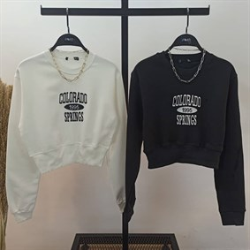 Colorado Büzgülü Crop Sweatshirt